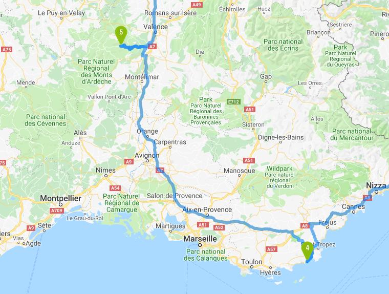Von Cavalaire sur Mer nach Vallon Pont d'Arc